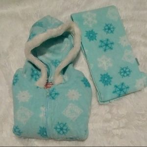 Other - Fleece snowflake zip up hoodie with matching scarf